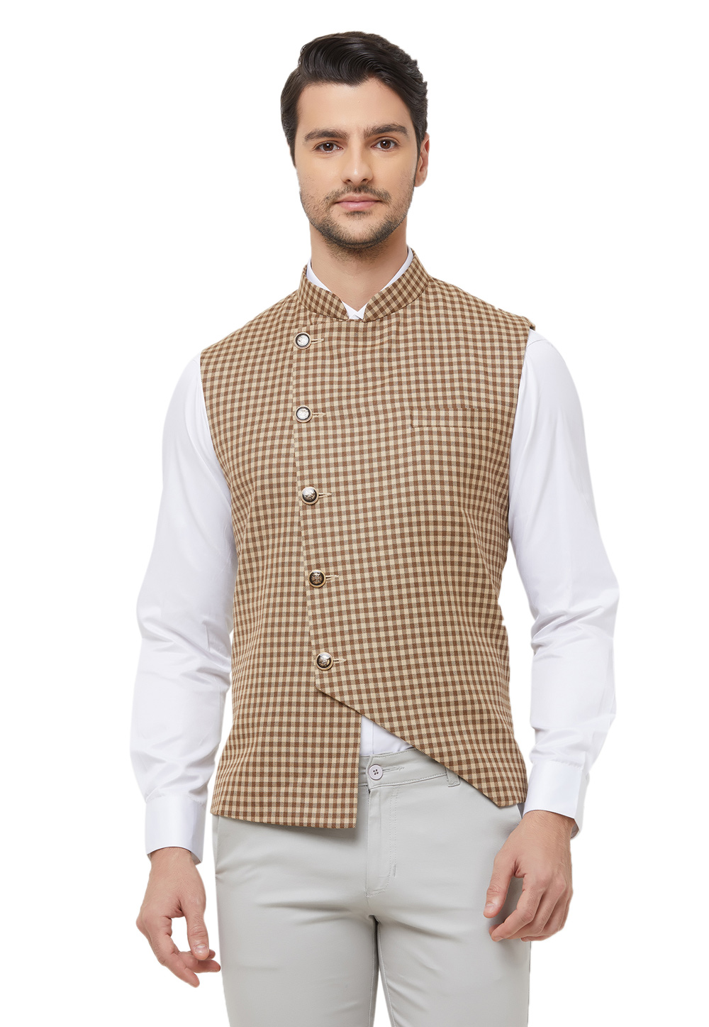 Brown Cotton Readymade Modi Jacket 181945