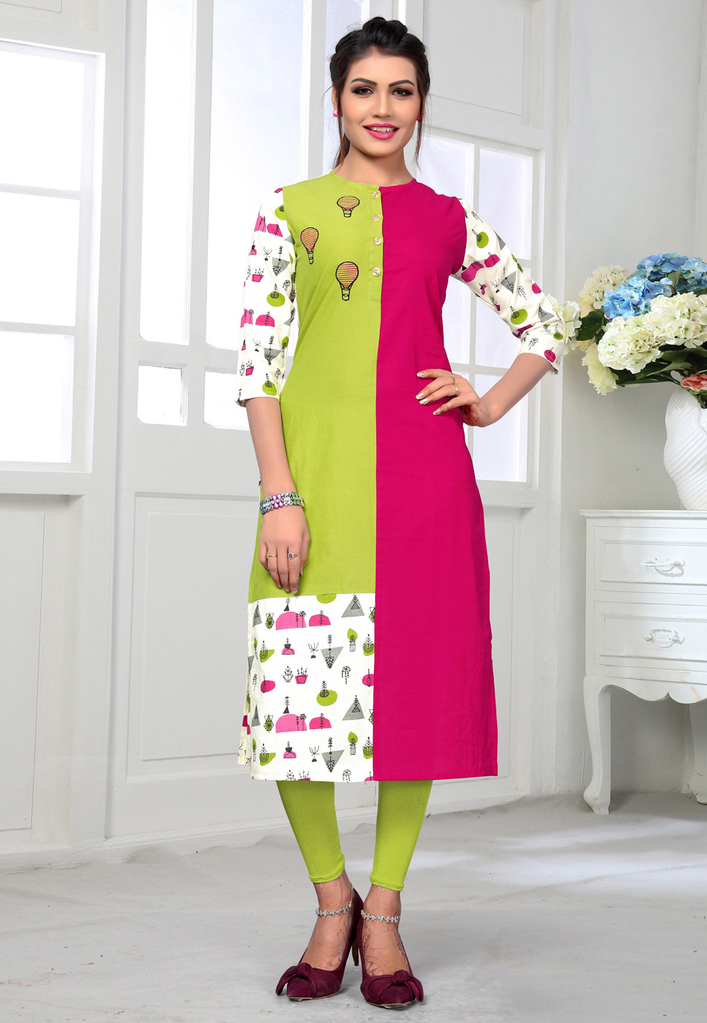 Magenta Cotton Readymade Printed Tunic 183696