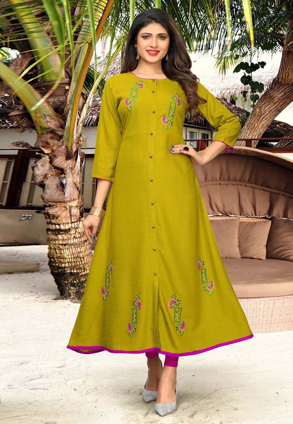 Green Cotton Readymade Tunic 183207