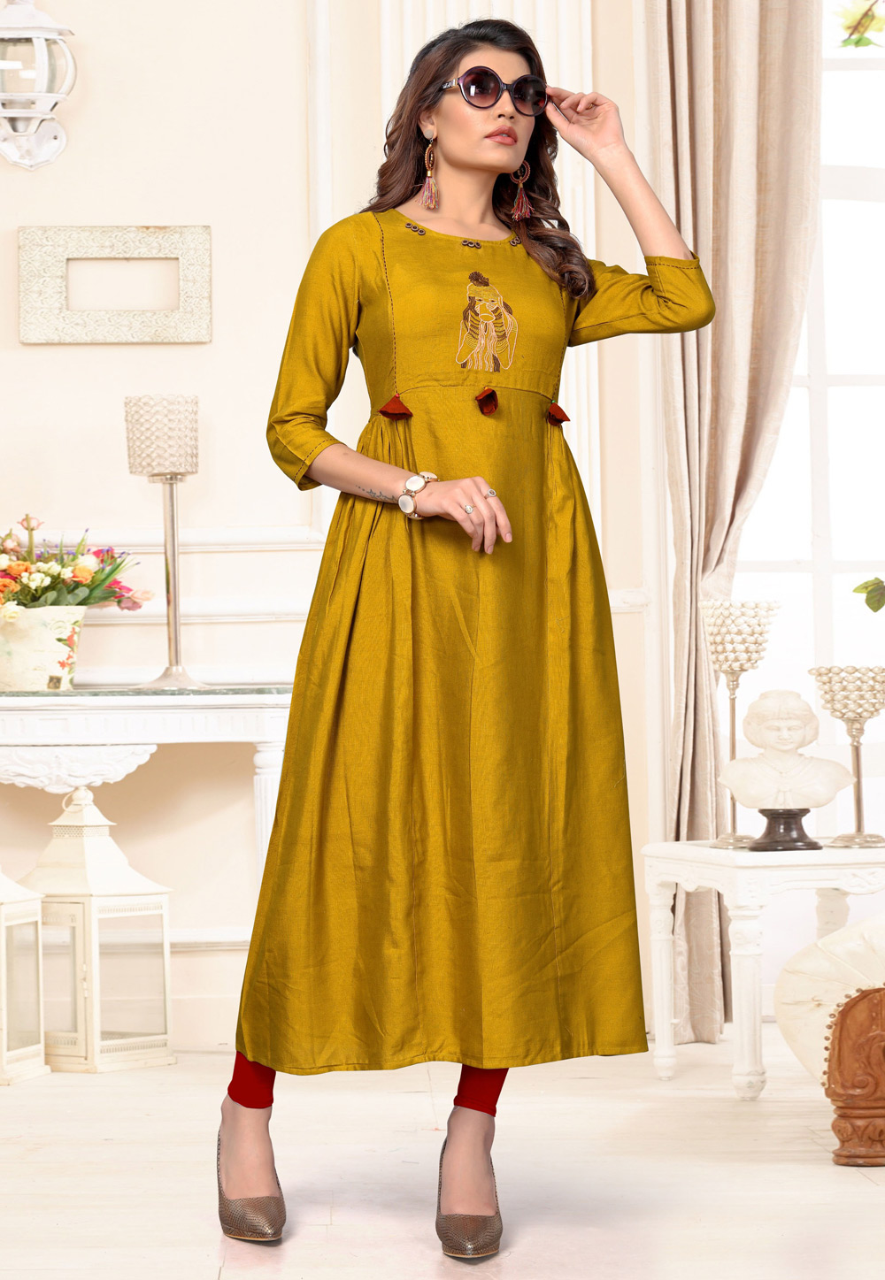 Mustard Cotton Readymade Tunic 183461