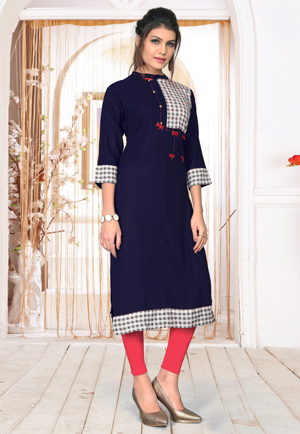Navy Blue Rayon Readymade Tunic 183473