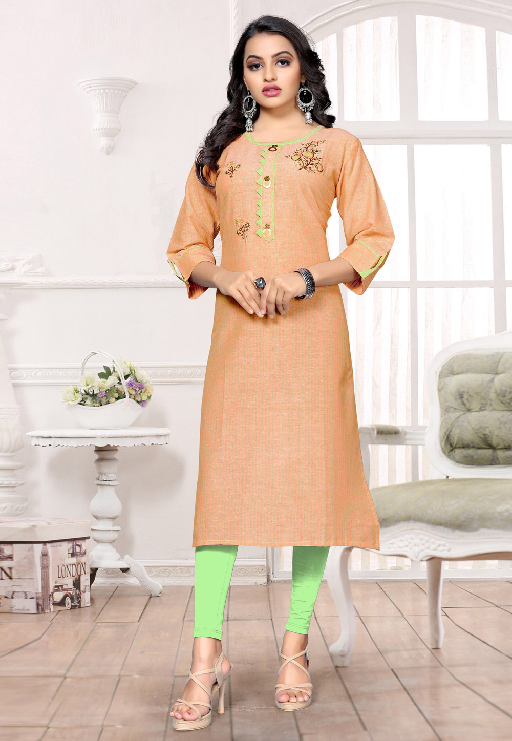 Peach Cotton Readymade Tunic 183483