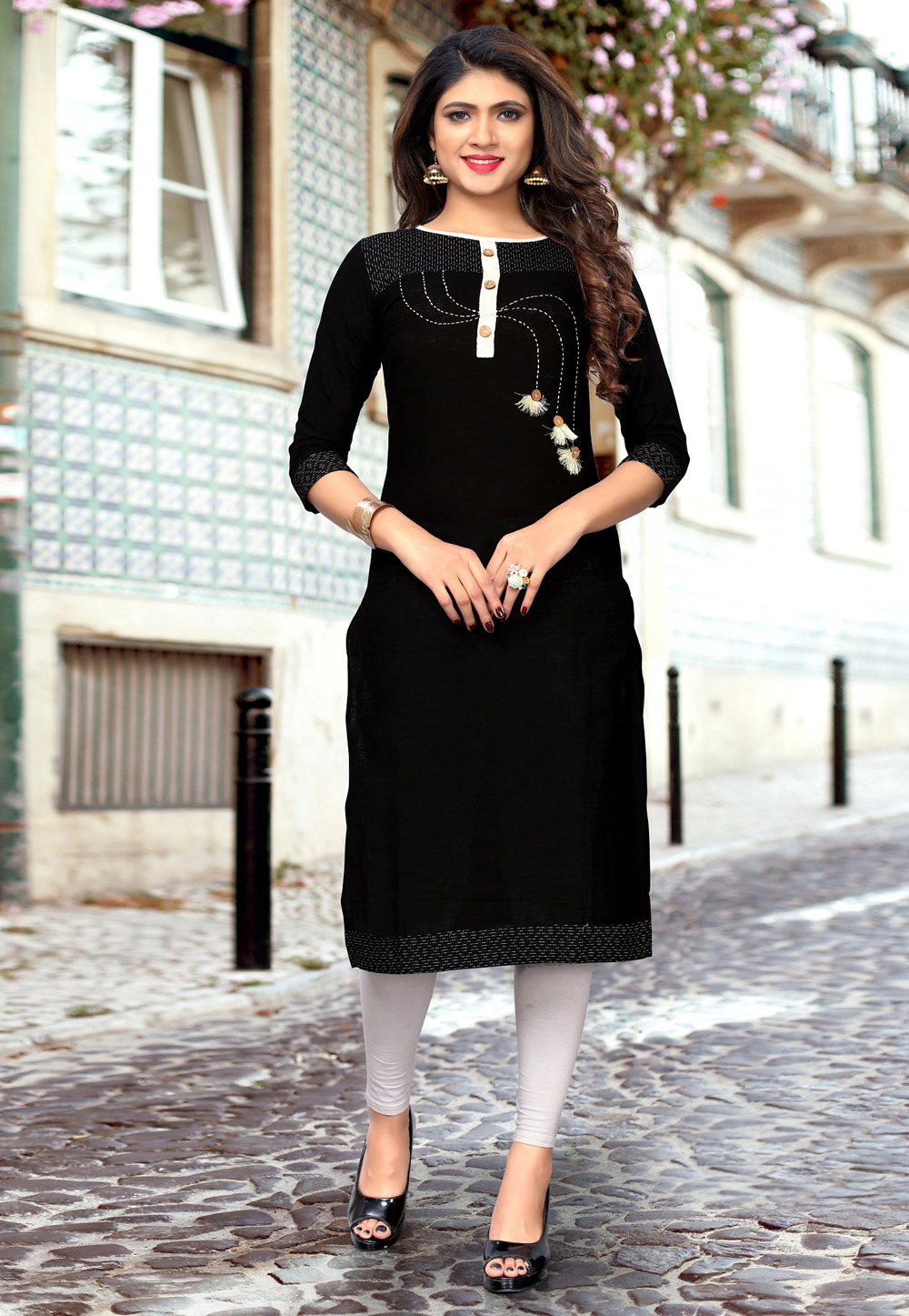 Black Cotton Readymade Kurti 183485