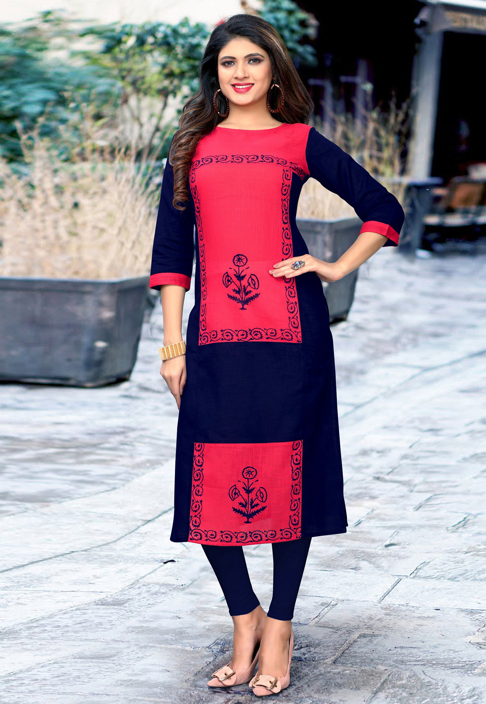 Navy Blue Cotton Readymade Tunic 183506