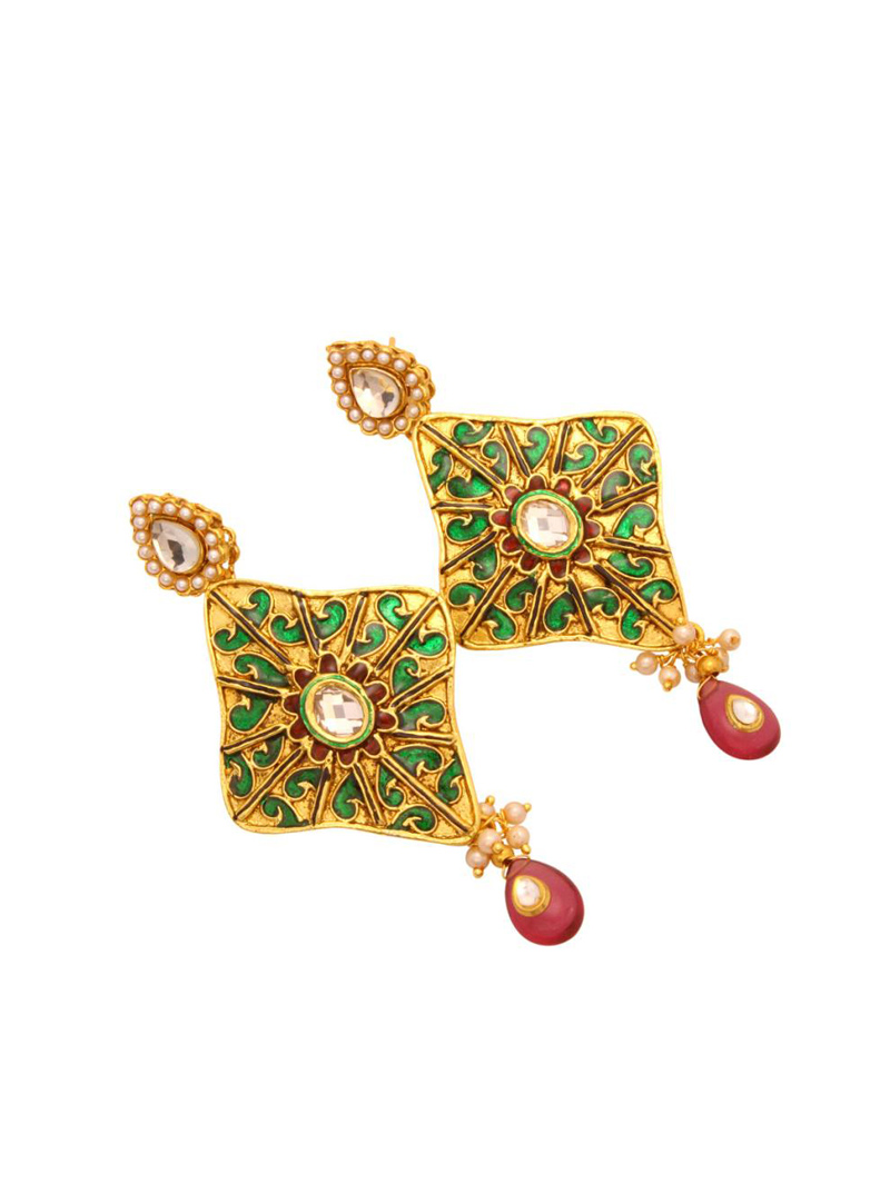 Green and Maroon Copper & Beads Studded Earrings 27308