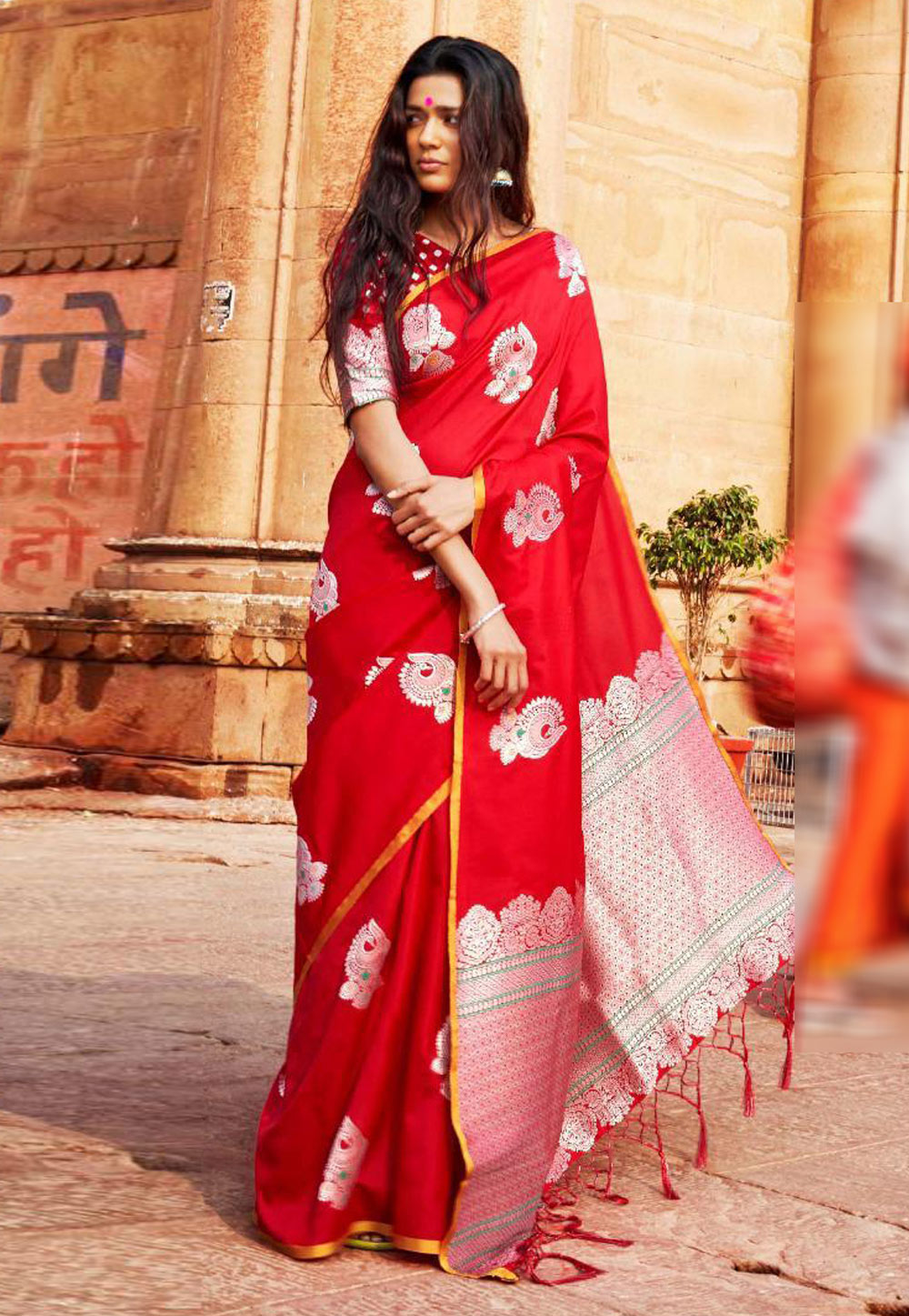 Red Silk Saree With Blouse 157380