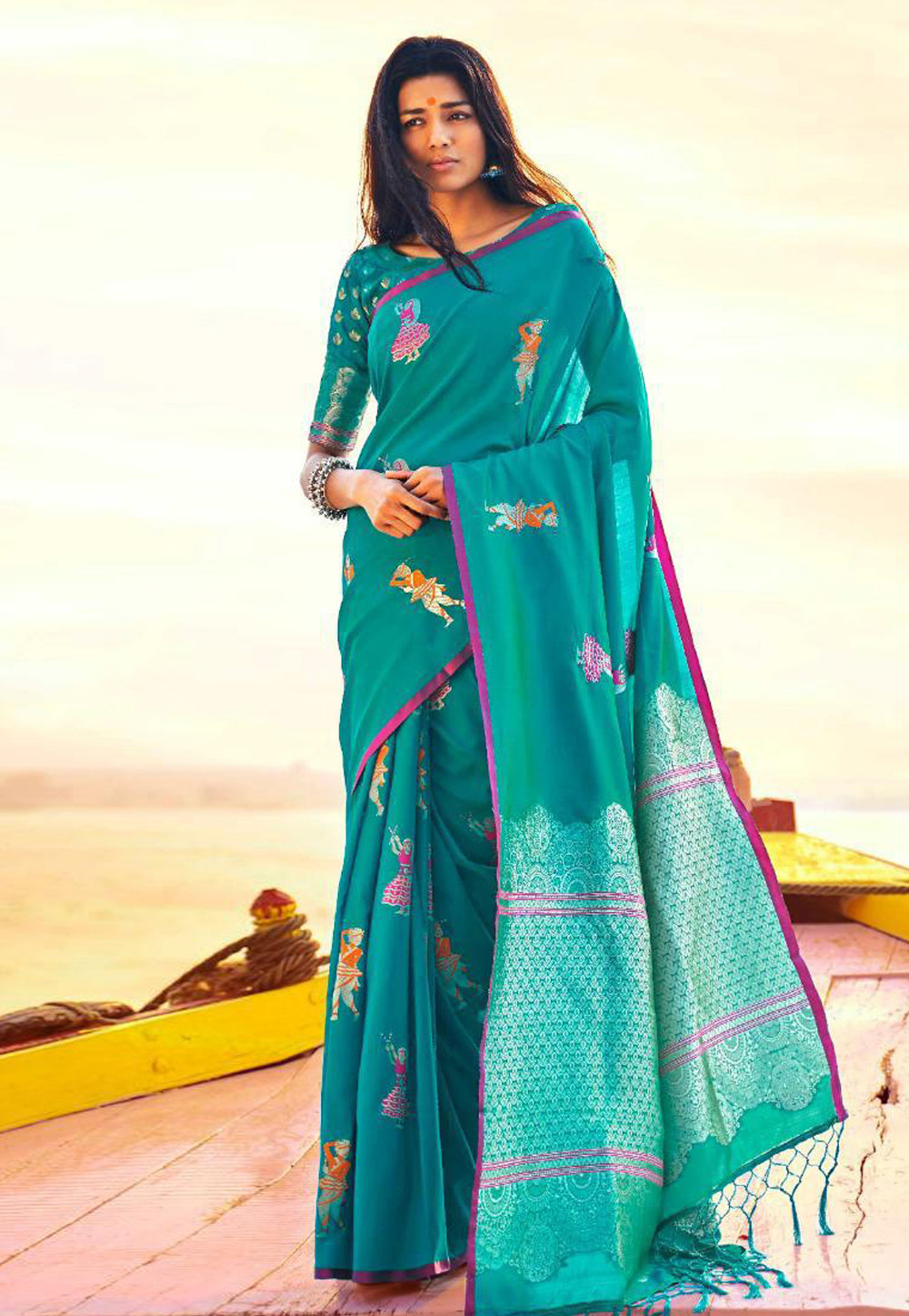 Turquoise Silk Saree With Blouse 157382