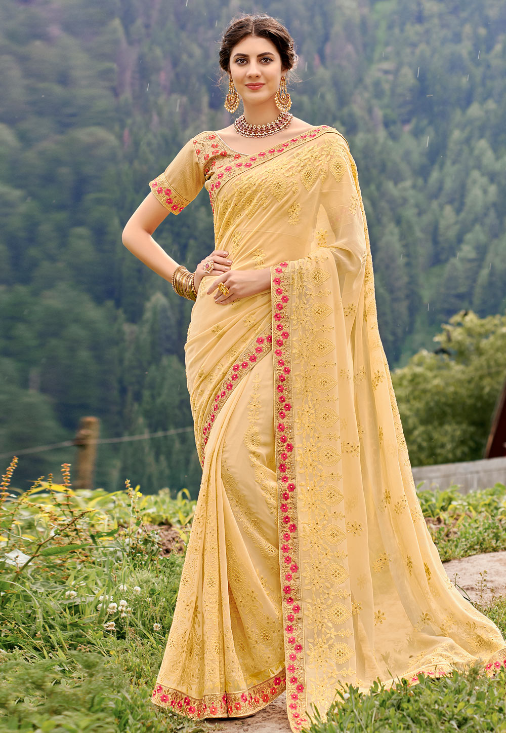Beige Georgette Saree With Blouse 189048