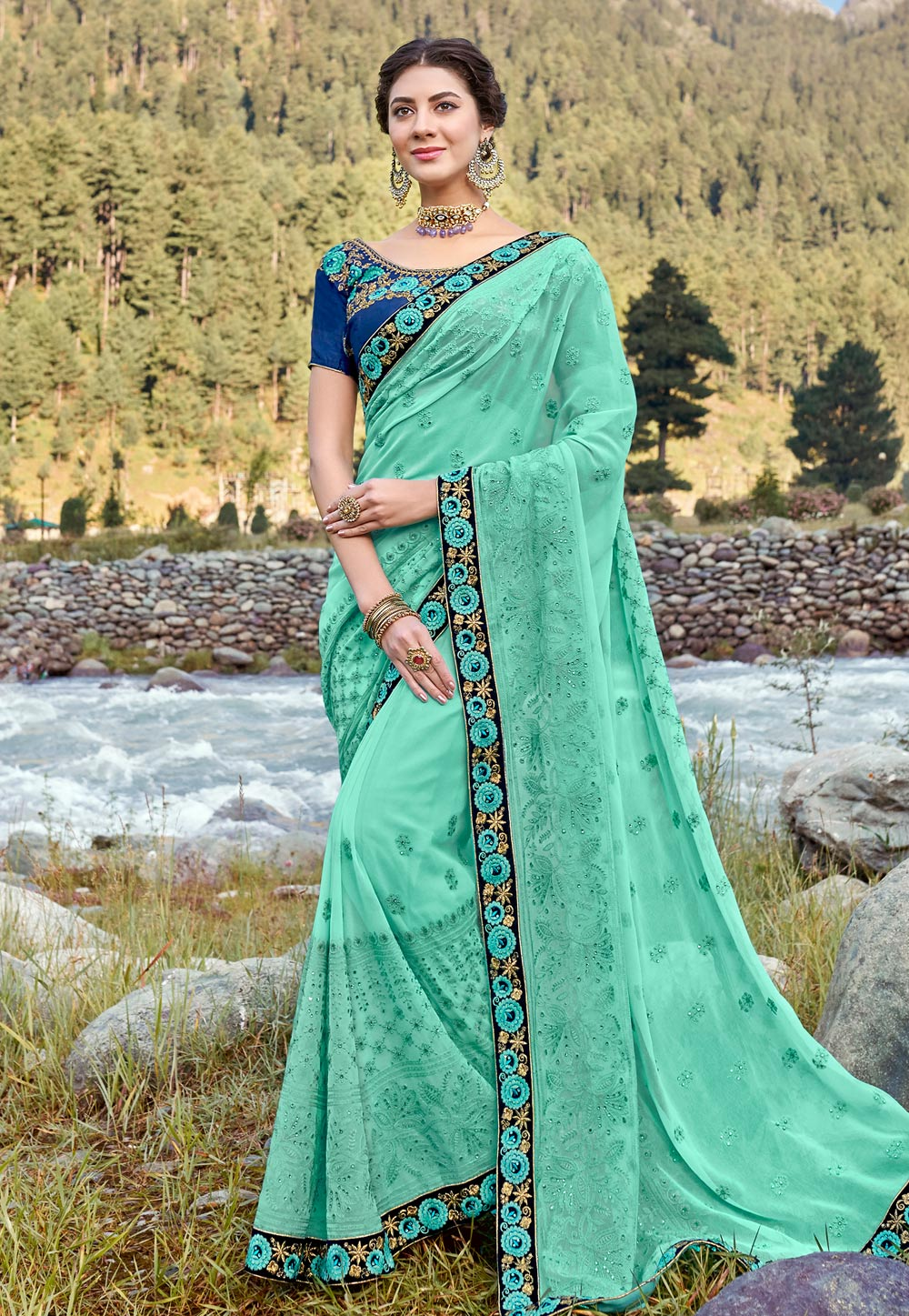 Light Green Georgette Saree With Blouse 189050