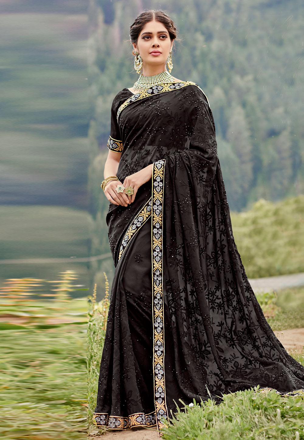 Black Georgette Saree With Blouse 189052