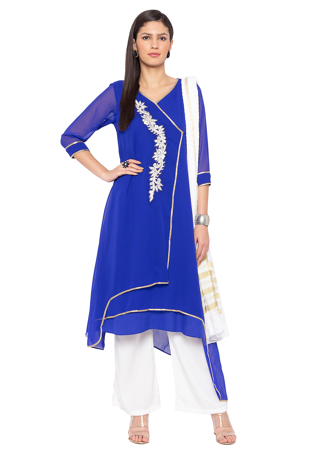 Blue Georgette Readymade Kameez With Palazzo 183975