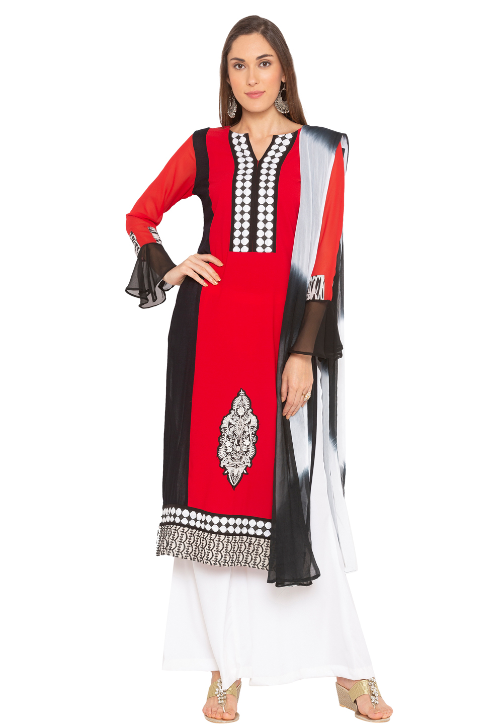 Red Crepe Readymade Palazzo Suit 183976