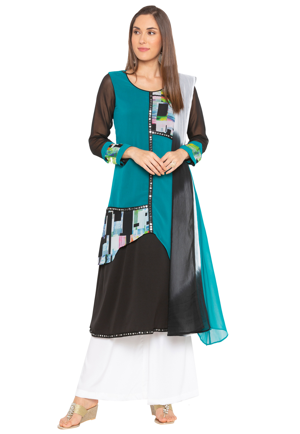 Turquoise Georgette Readymade Kameez With Palazzo 183982