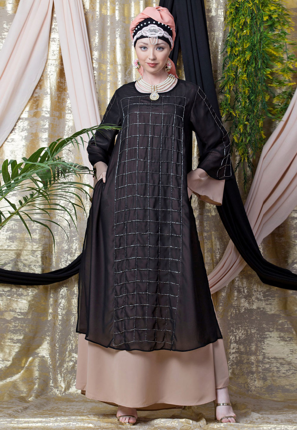 Shaded Brown Georgette Readymade Abaya 199063