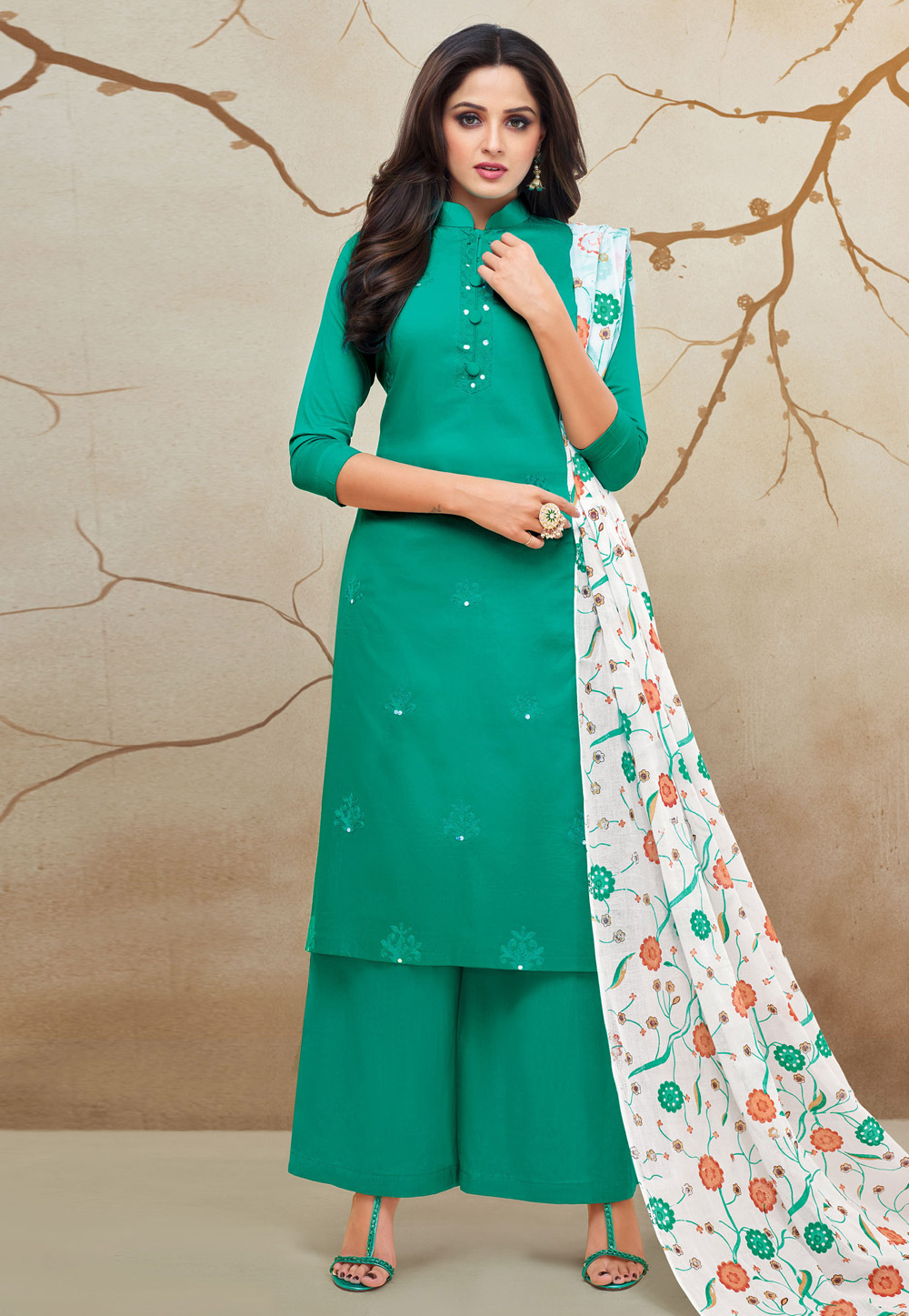 Sea Green Cotton Kameez With Palazzo 183348