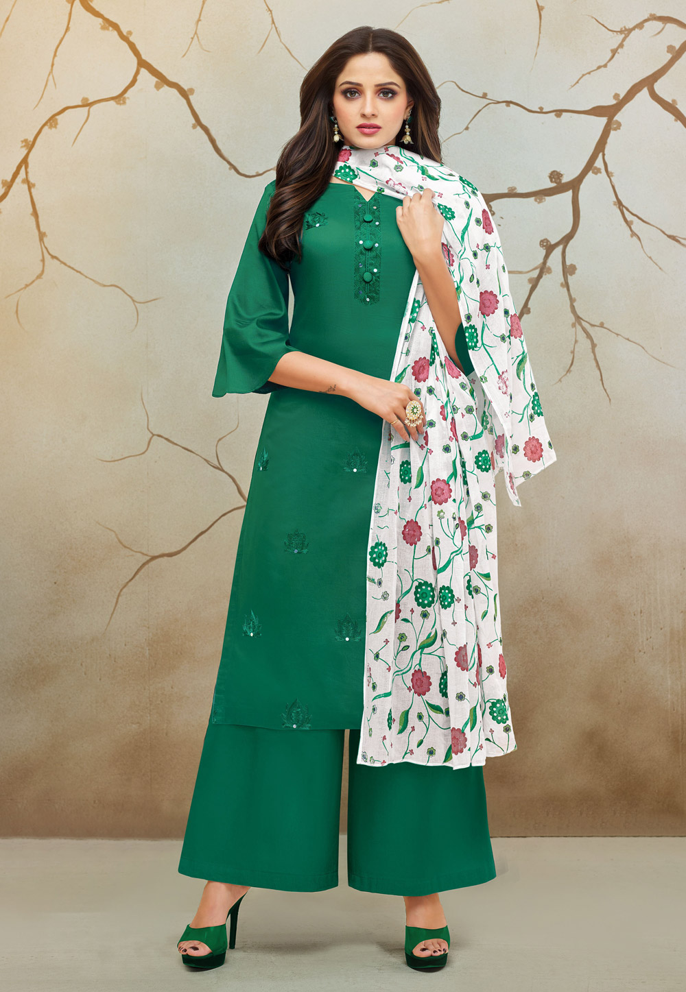 Green Cotton Kameez With Palazzo 183352