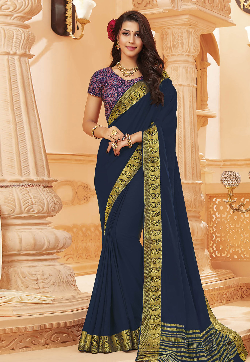 Navy Blue Satin Saree With Blouse 192366