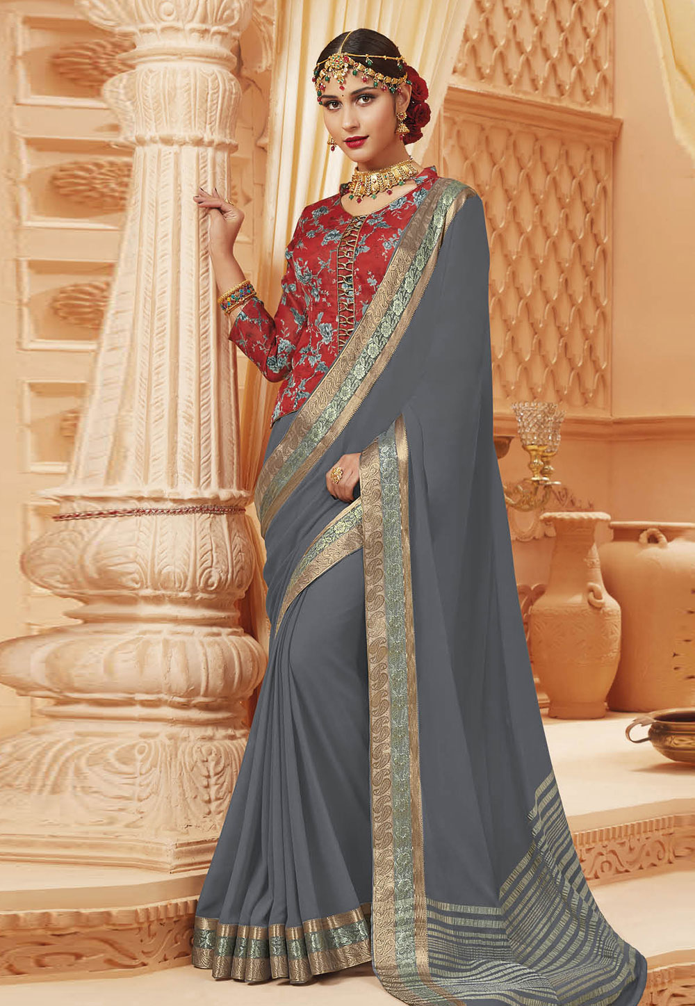 Grey Satin Festival Wear Saree 192369