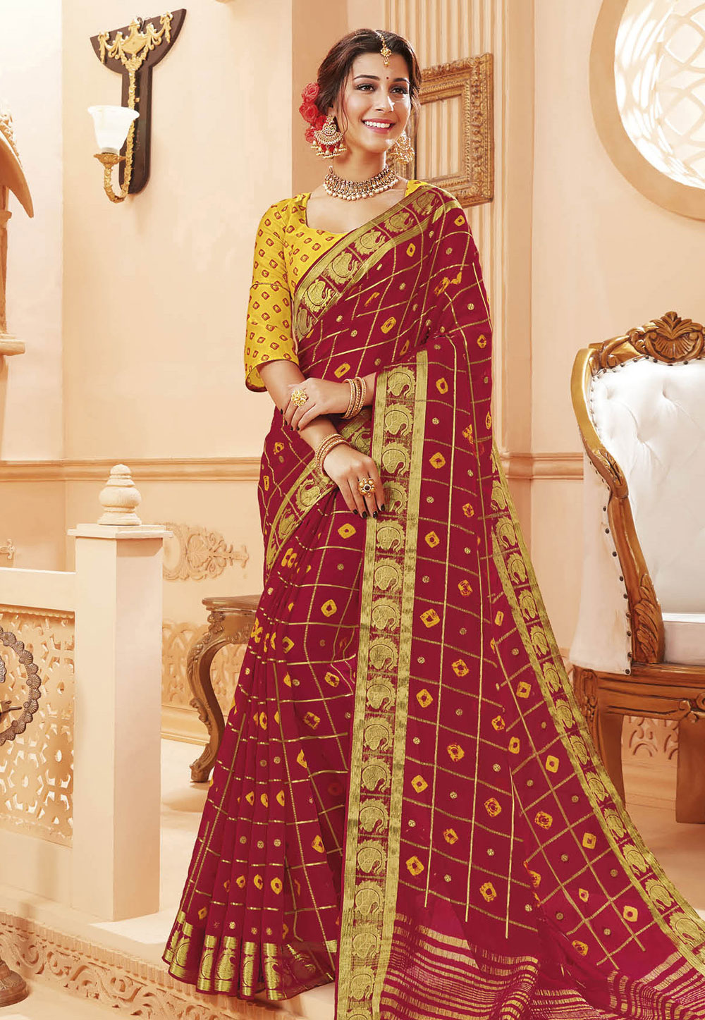 Maroon Satin Saree With Blouse 192370