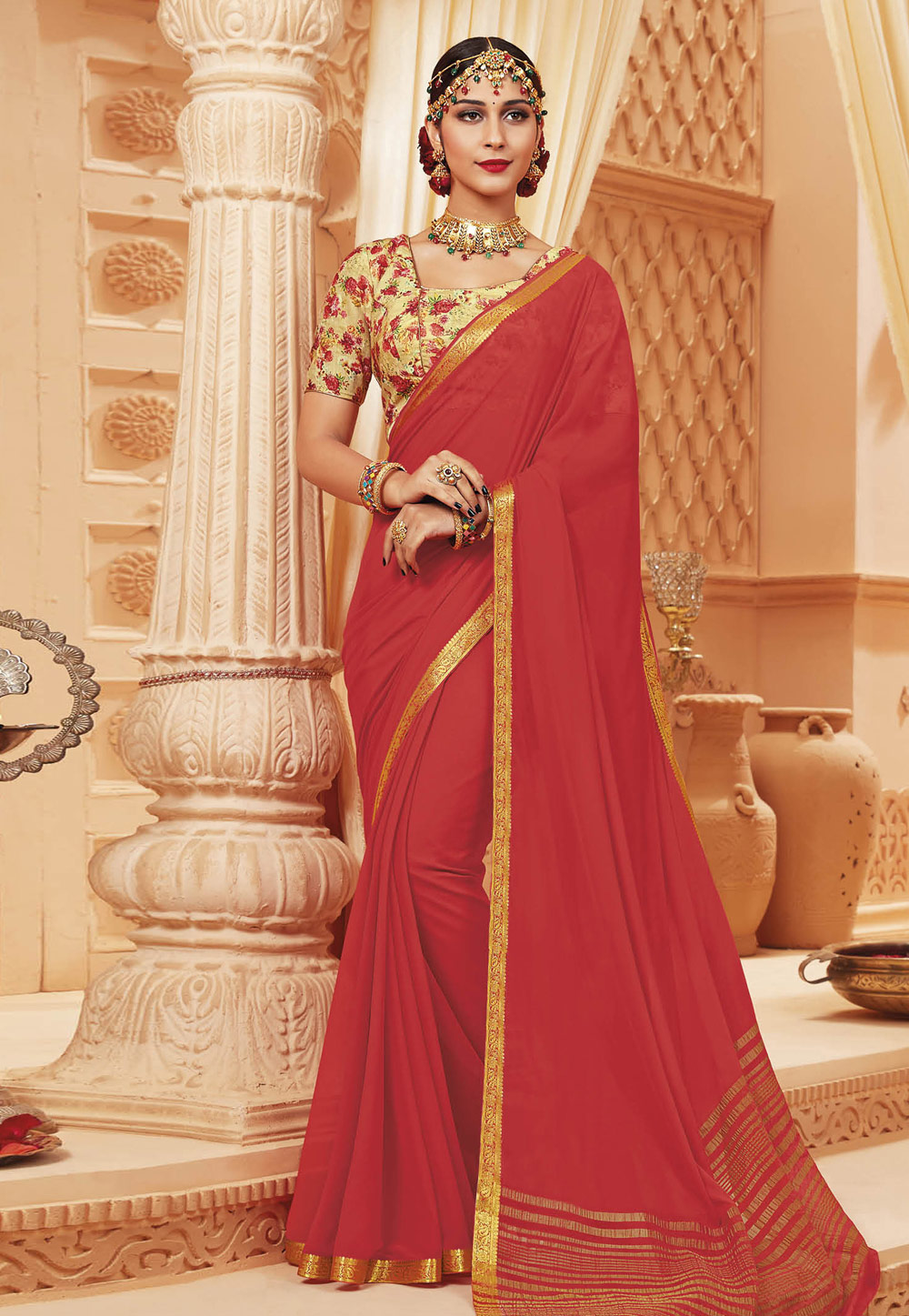 Shaded Pink Satin Festival Wear Saree 192379