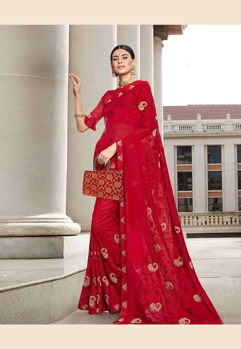 Red Faux Georgette Saree With Blouse 203515
