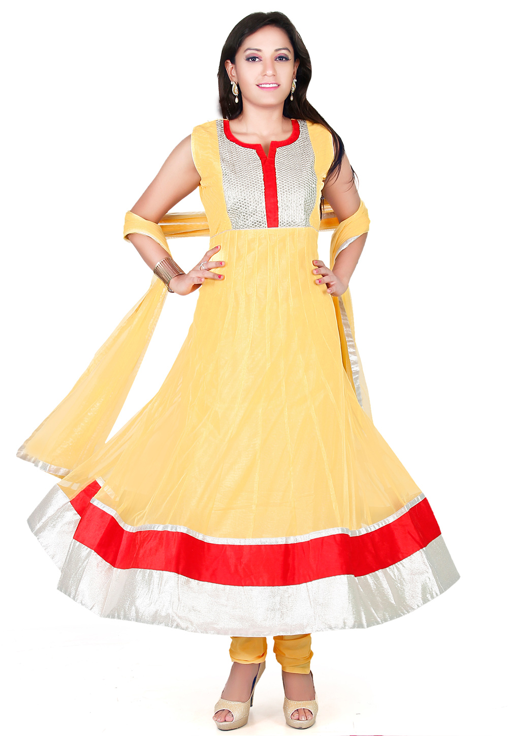 Yellow Net Readymade Anarkali Suit 194252