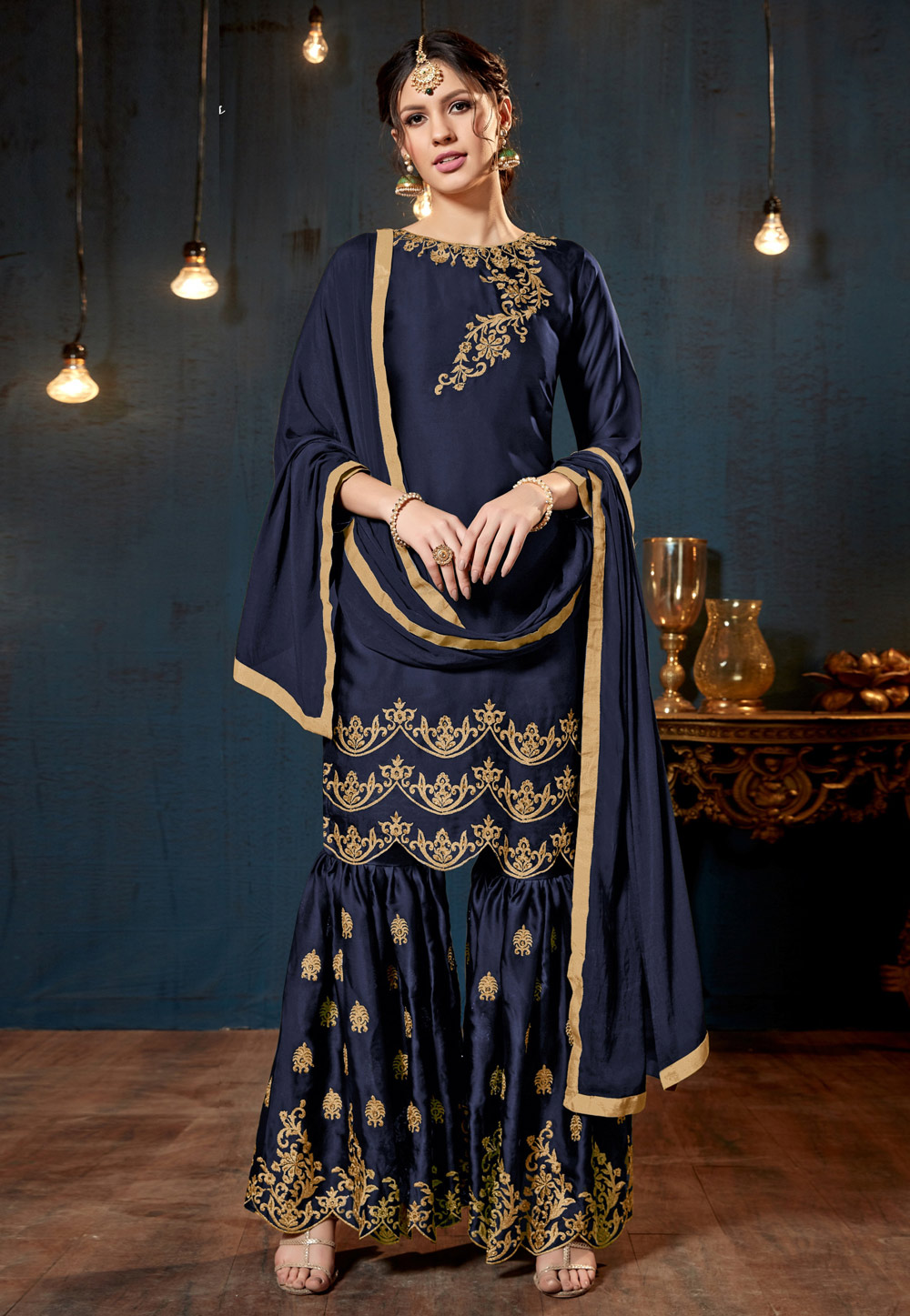 Navy Blue Satin Sharara Style Suit 160415