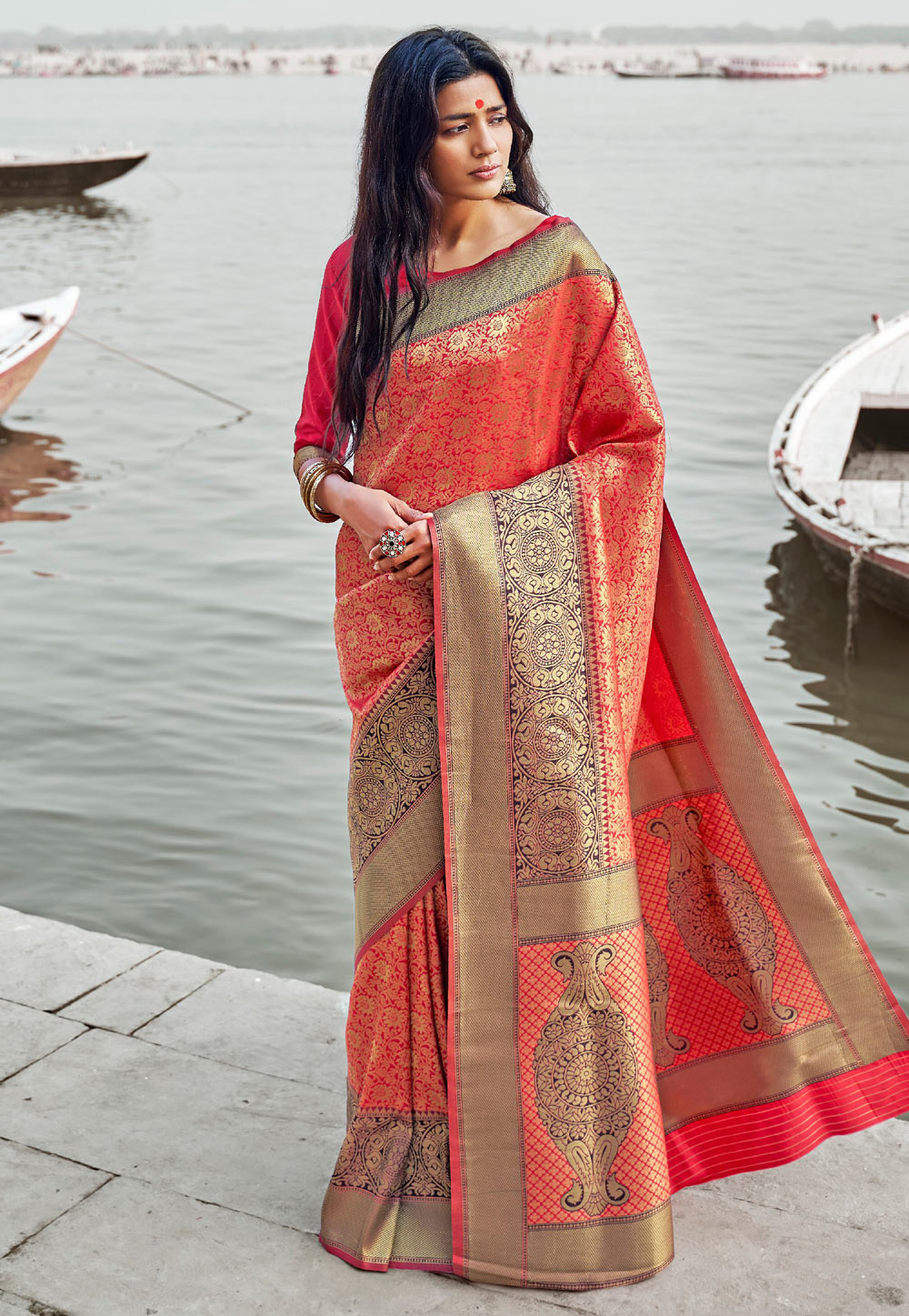 Red Silk Saree With Blouse 160313