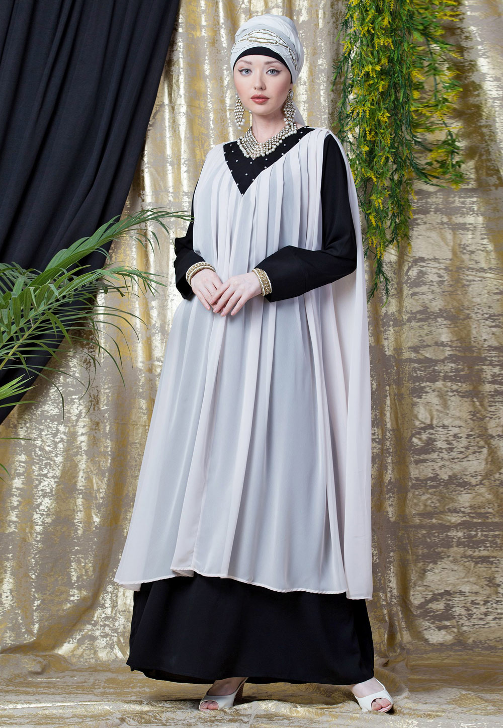 Off White Polyester Readymade Abaya 199075