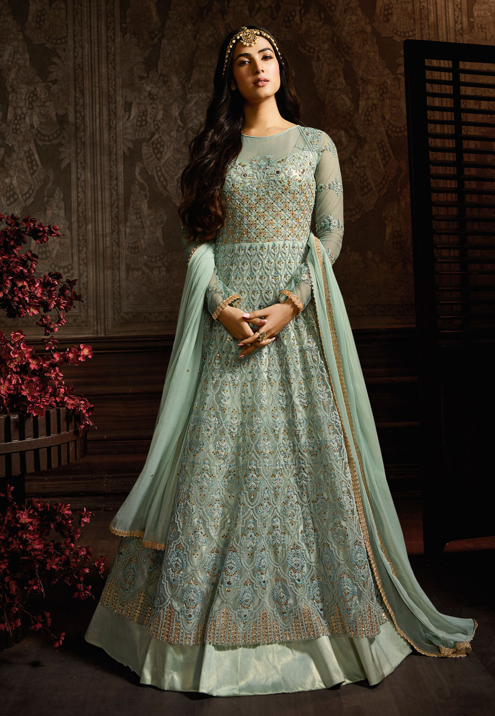 Sonal Chauhan Sea Green Net Long Anarkali Suit 186640