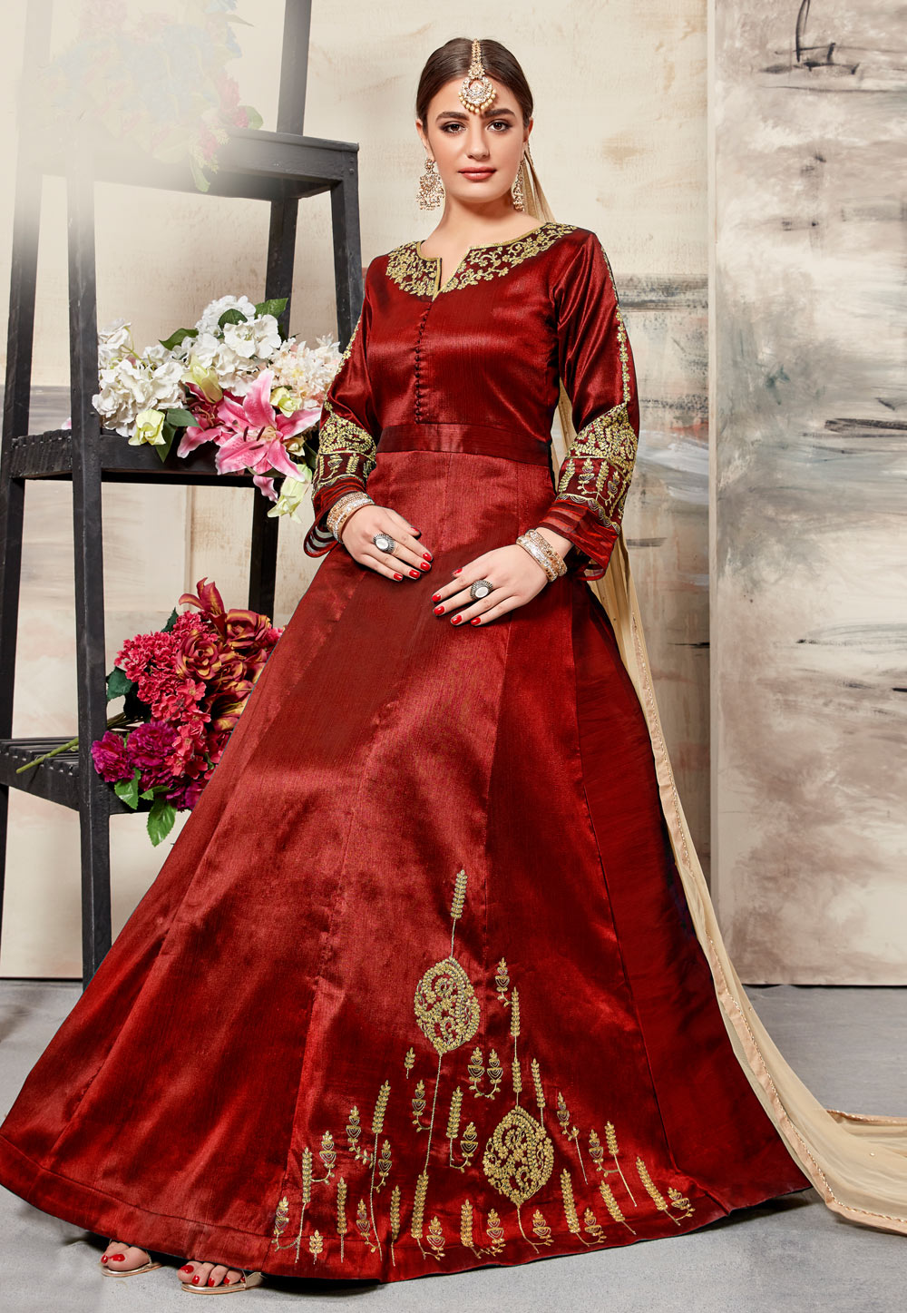 Red Silk Abaya Style Anarkali Suit 161136