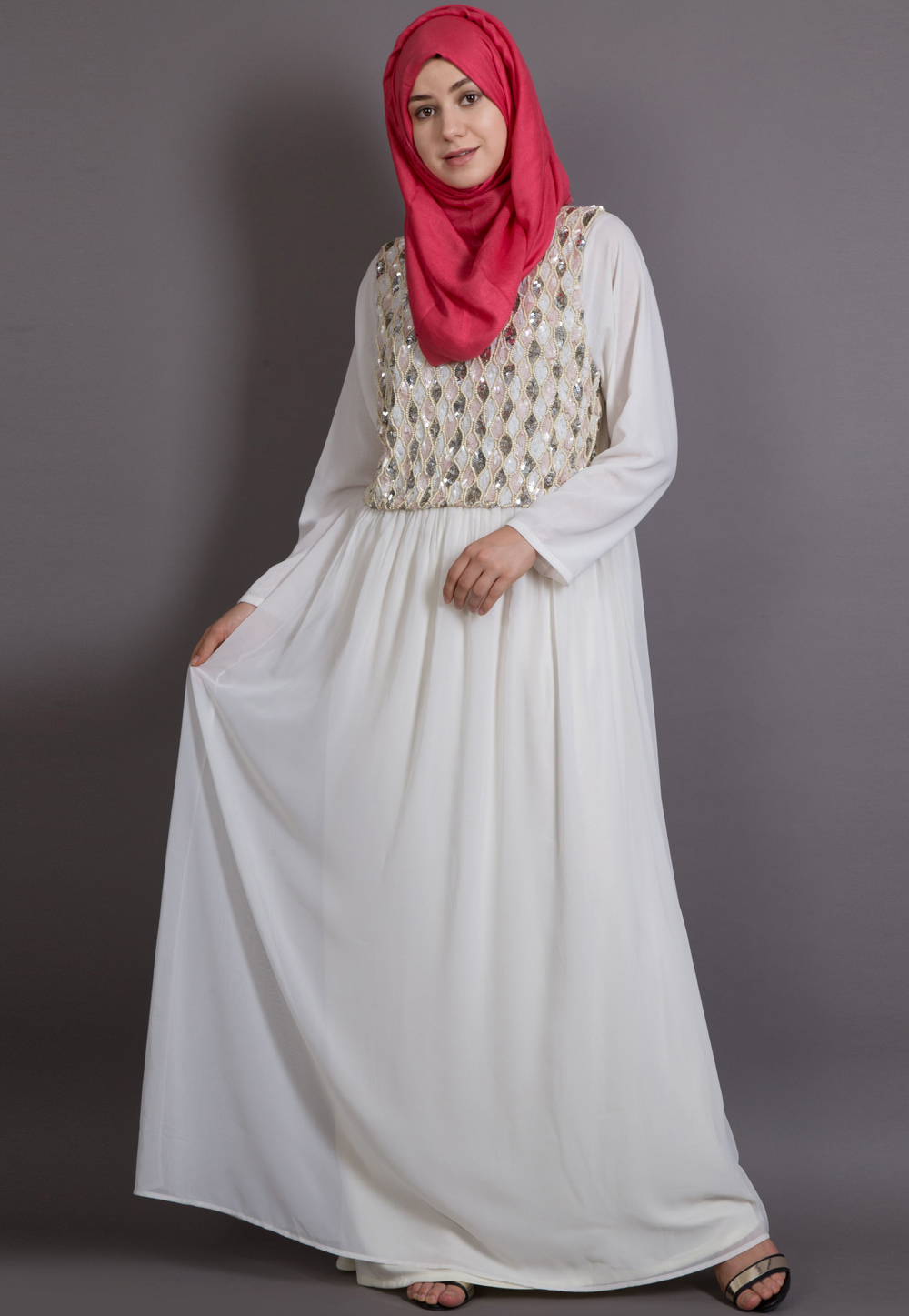 Off White Georgette Readymade Abaya 199085