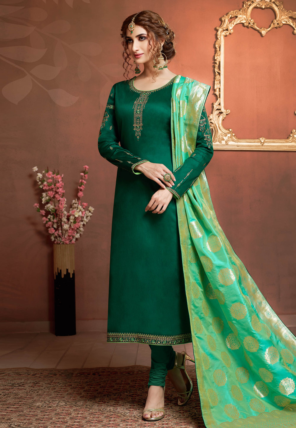 Green Cotton Churidar Suit 185370