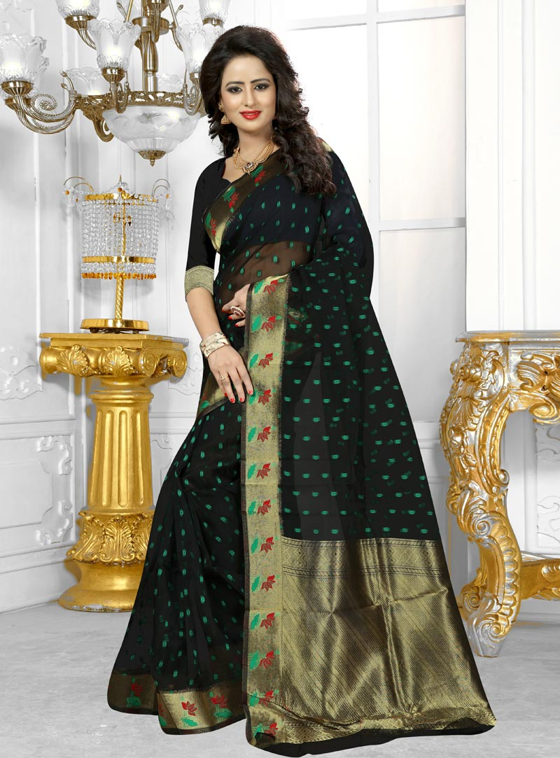 Black Banarasi Silk Festival Wear Saree 91118