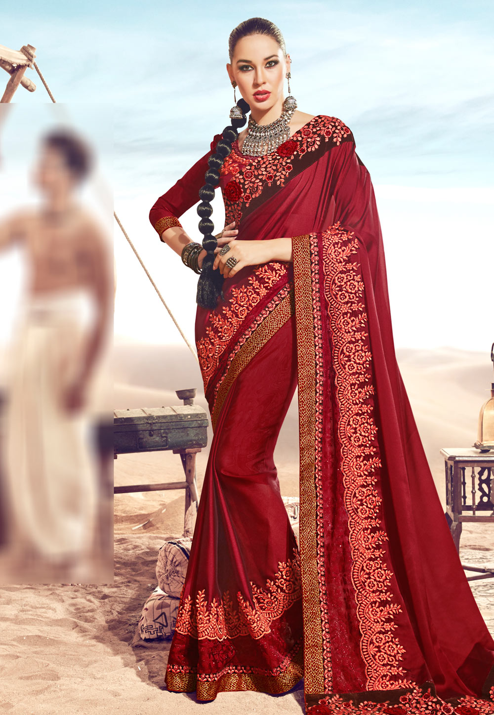 Maroon Satin Embroidered Saree With Blouse 181296
