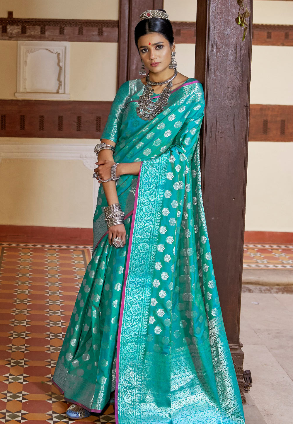 Turquoise Silk Saree With Blouse 159777