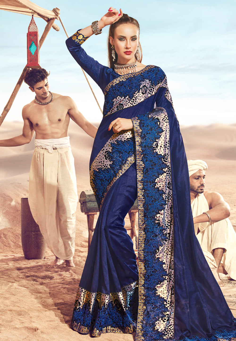 Navy Blue Satin Embroidered Saree With Blouse 181300