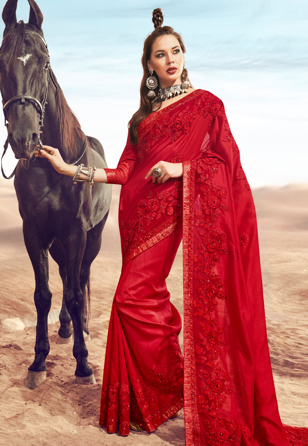 Red Satin Embroidered Saree With Blouse 181302