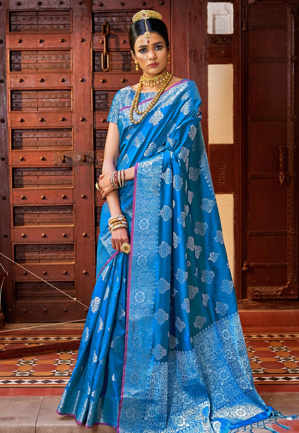 Blue Silk Festival Wear Saree 159781