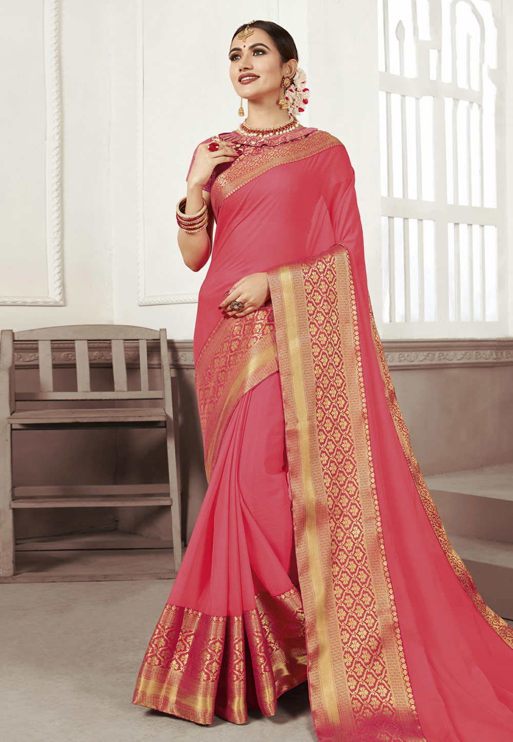 Pink Chiffon Saree With Blouse 186893