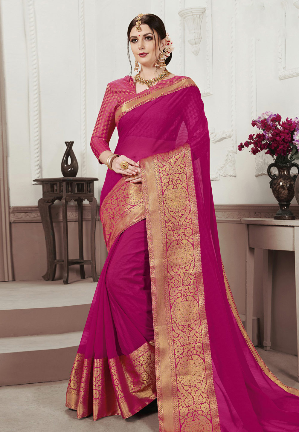 Magenta Chiffon Saree With Blouse 186895