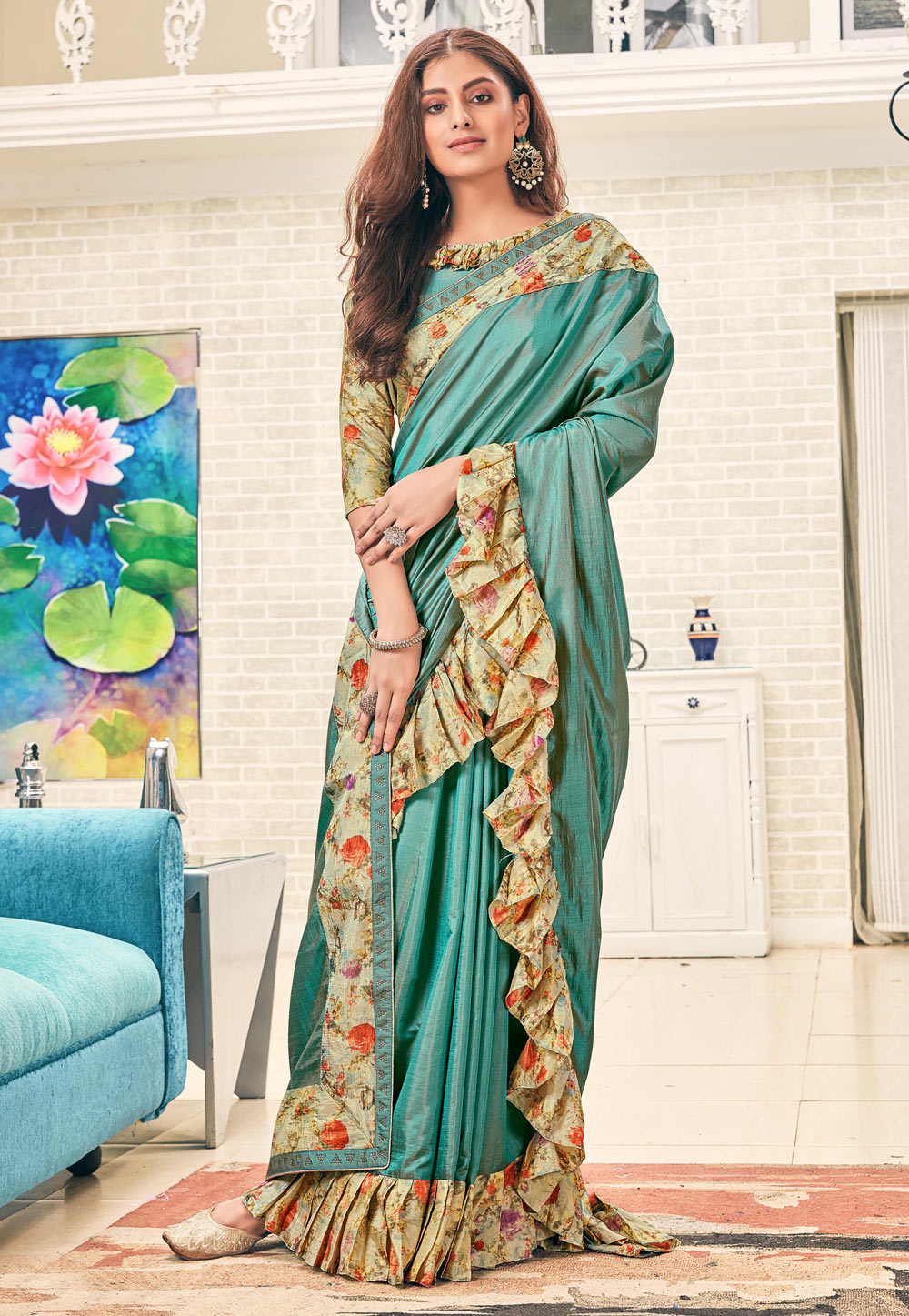 Sea Green Silk Ruffle Border Festival Wear Saree 187001