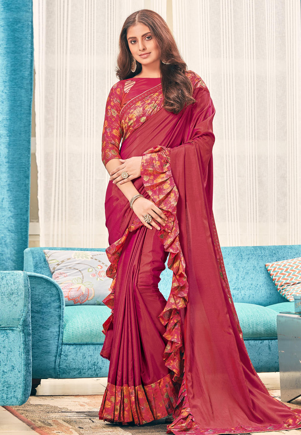 Magenta Silk Ruffle Border Saree With Blouse 187004