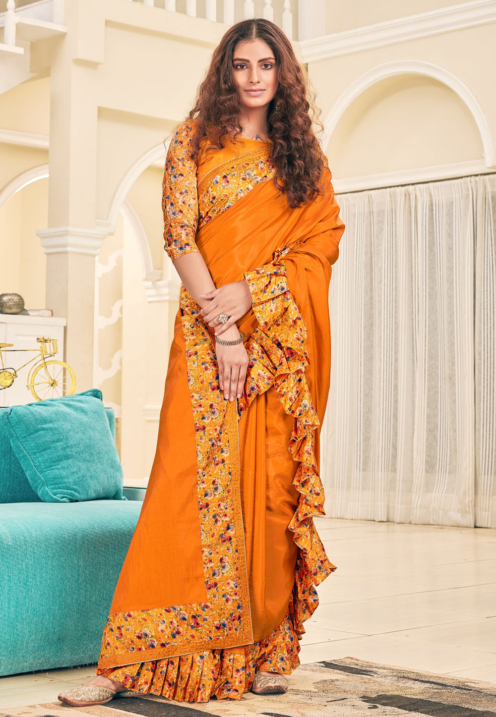 Orange Silk Ruffle Border Festival Wear Saree 187005