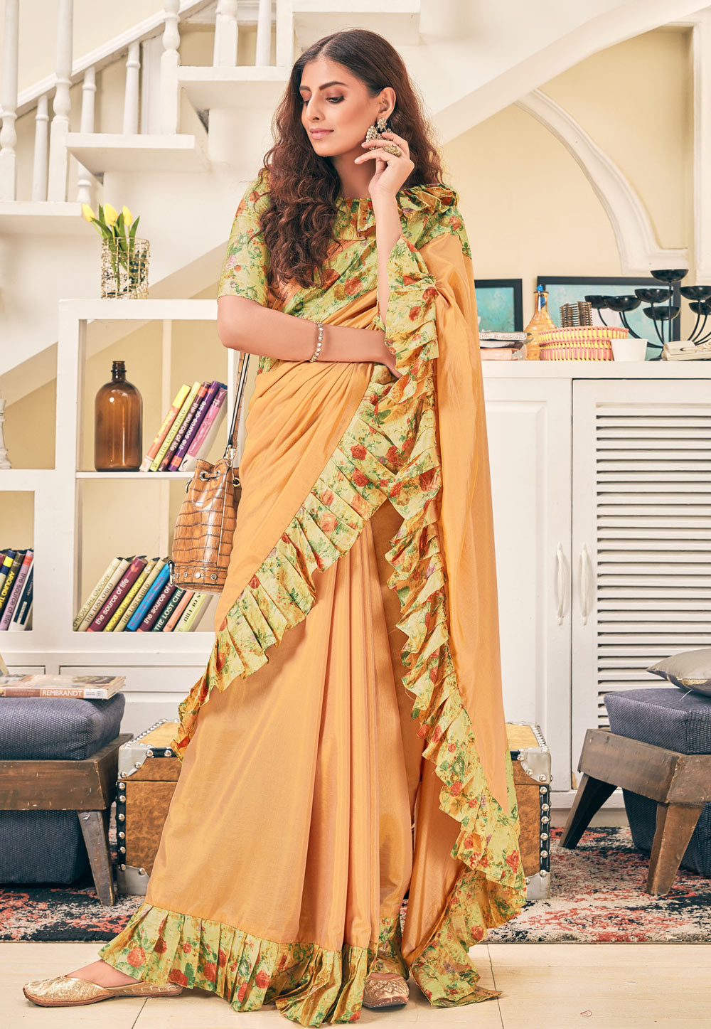 Peach Silk Ruffle Border Festival Wear Saree 187007