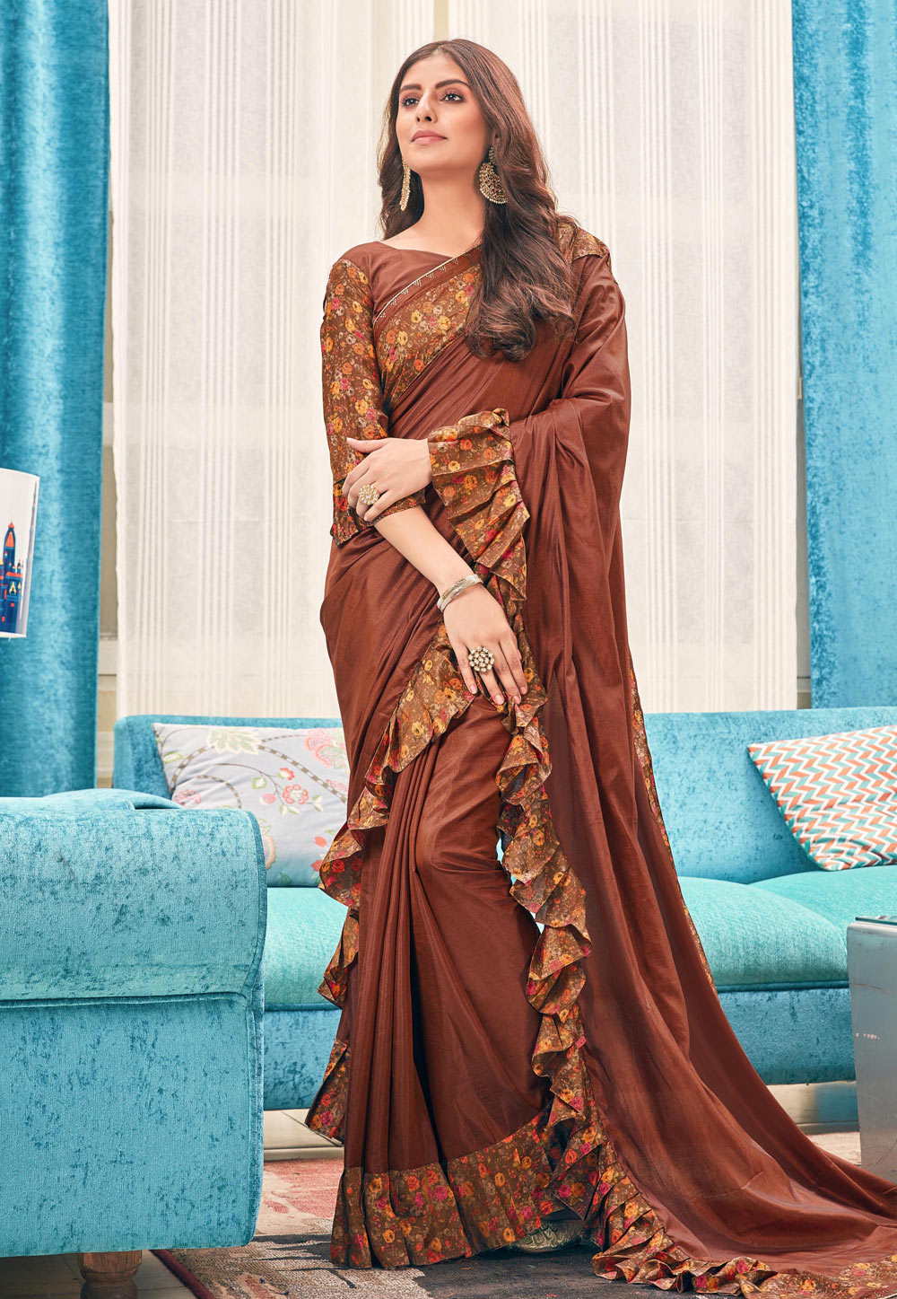 Brown Silk Ruffle Border Festival Wear Saree 187009