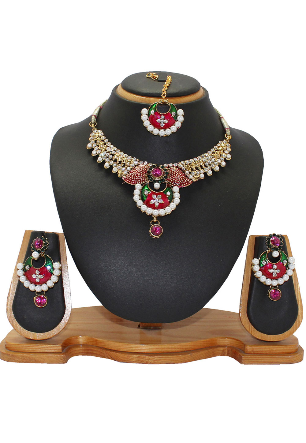 Pink Alloy Austrian Diamonds Necklace With Earrings and Maang Tikka 64333