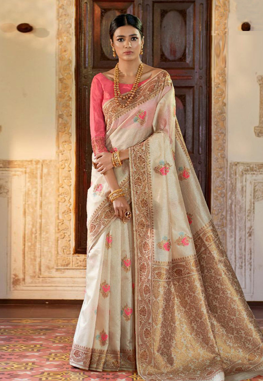 Off White Art Silk Saree With Blouse 161338