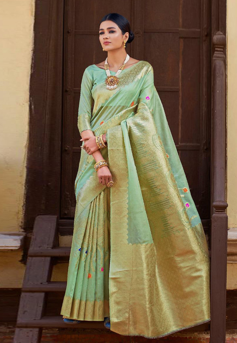 Sea Green Art Silk Saree With Blouse 161342