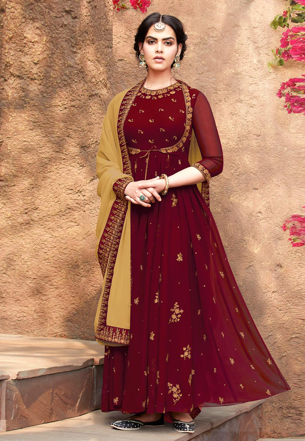 Maroon Faux Georgette Long Anarkali Suit 193895